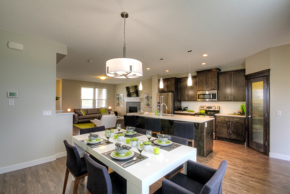 Nuvista Homes with dining room, living room and kitchen