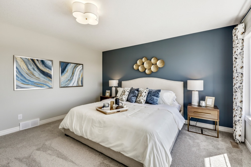 Triceo Homes master bedroom with king bed and blue art